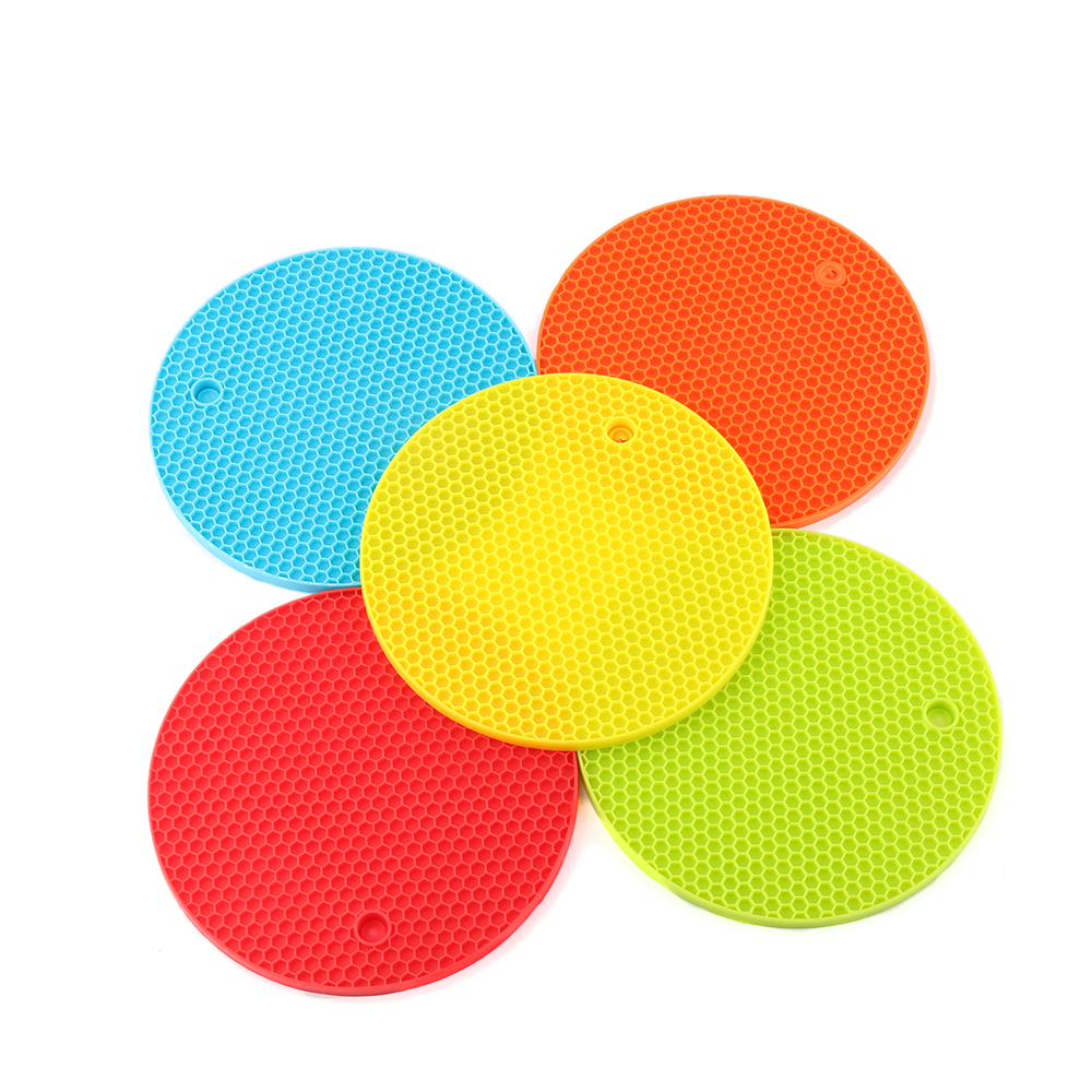 1x Silicone Honeycomb Round Table Heat Resistant Mat Coaster Cushion Placemat  Heat Resistant Mat Kcitchen Accessories