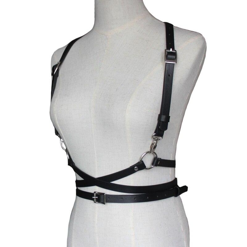 Холтер сексуальный основной жгут клуб для женщин ручной работы под грудью черный пояс для талии кожаный боди Связывание Белье подтяжки для женщин