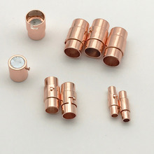 10set Rose Gold Color Strong Magnetic Clasp Fit 3/4/5/6/8/10mm Round Leather Cord Bracelet Clasps Connectors Jewelry Making Z617