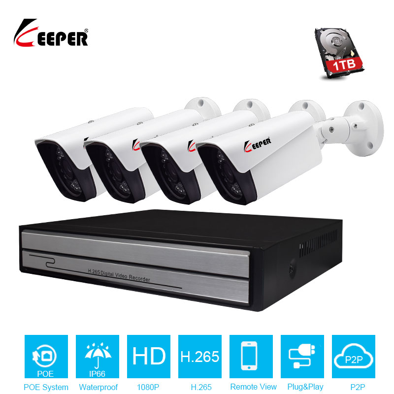 Keeper H.265 Full HD 1080P 4Channel CCTV System 4pcs 2MP Metal Outdoor IP Camera 4CH 1080P POE NVR CCTV Kit HDMI P2P Email Alarm h 265 4ch cctv system 5mp 3mp 2mp metal outdoor ip camera 4ch 1080p poe nvr kit alarm email night vision app pc remote
