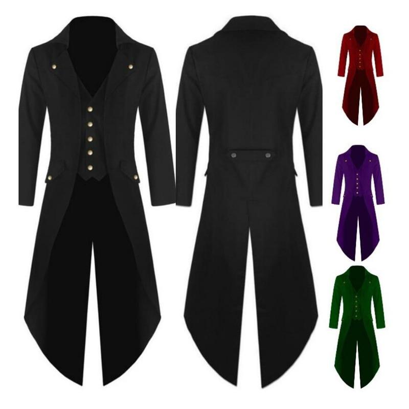 Cosplay Batman Vampire Gentleman Uniform Men's Outwear Steampunk Vintage Tailcoat Qinter Military Costume Gothic Victorian Frock