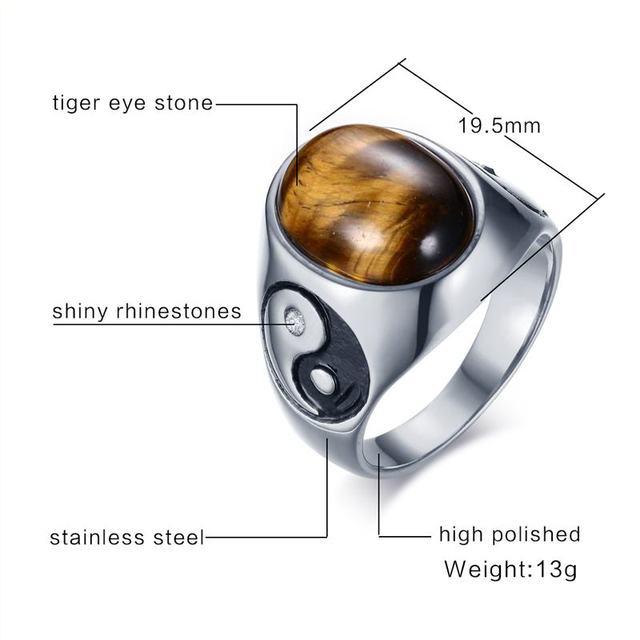 Кольцо Инь Янь с камнем тигровый глаз 2