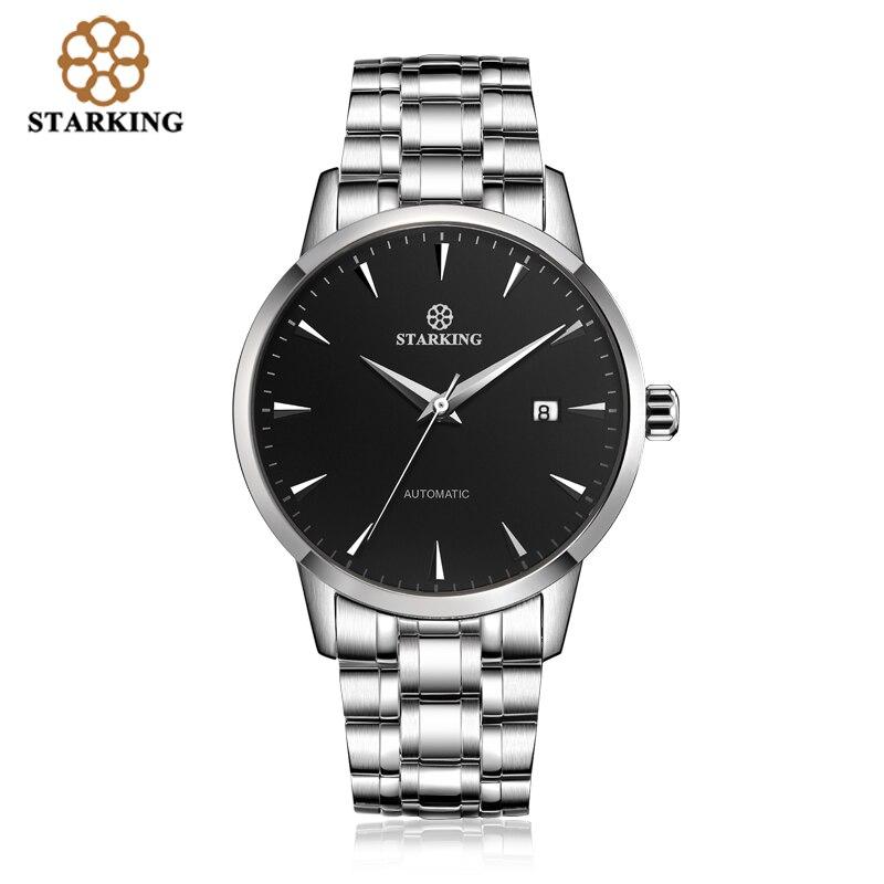 STARKING Original marque montre hommes automatique auto-vent en acier inoxydable 5atm étanche affaires hommes montre-bracelet montres AM0184 - 2
