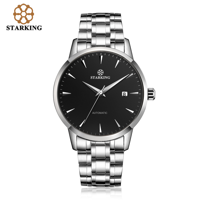 STARKING Original marque montre hommes automatique auto-vent en acier inoxydable 5atm étanche hommes d'affaires montre-bracelet montres AM0184 - 2