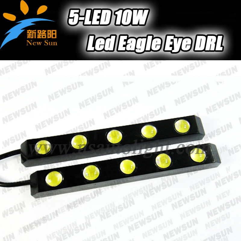 2X5 LED 10W Waterproof White Eagle Eye Daytime Running Light DRL for Car super bright Auto Tail Backup Reverse Lamp