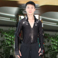 New men's latin dance costumes spandex long sleeves latin dance shirts for men's latin dance competition shirts S 3XL F38
