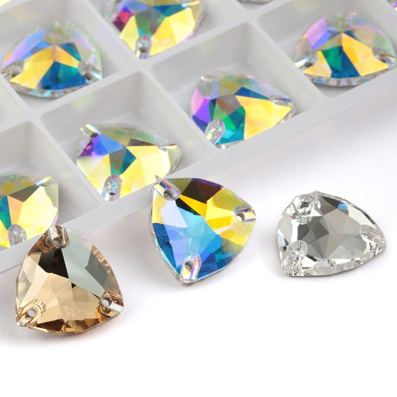 Aaaa qualidade cristal ab 12mm 16mm 22mm costurar em pedra fundo de vidro superfície corte strass de vidro costurado