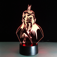 Hot sale Batman Colorful gradient 3D night light Creative remote control or touch switch night light led table lamp gifts