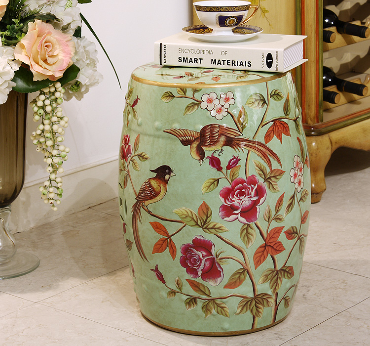 Fashion ceramic drum stool dressing sidetable stool for bedroom historical sticker dolly dressing 1940s fashion
