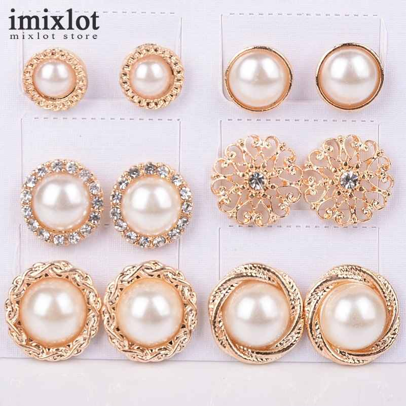 Imixlot 6 Pair/Lot Fashion Vintage Charm Jewelry Gold-Color Round Half Simulated Pearls Flower Stud Earring For Women