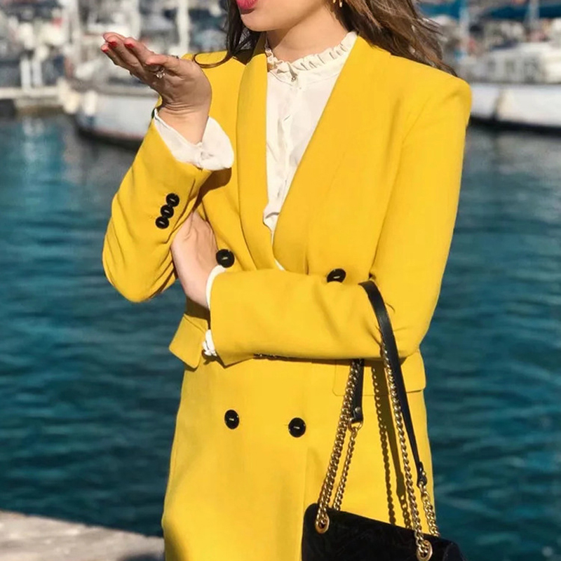 Suit Female 2019 New Women's High Street Fashion Ladies Fashion Long Suit Jacket High Waist Pants Two Sets Of Yellow