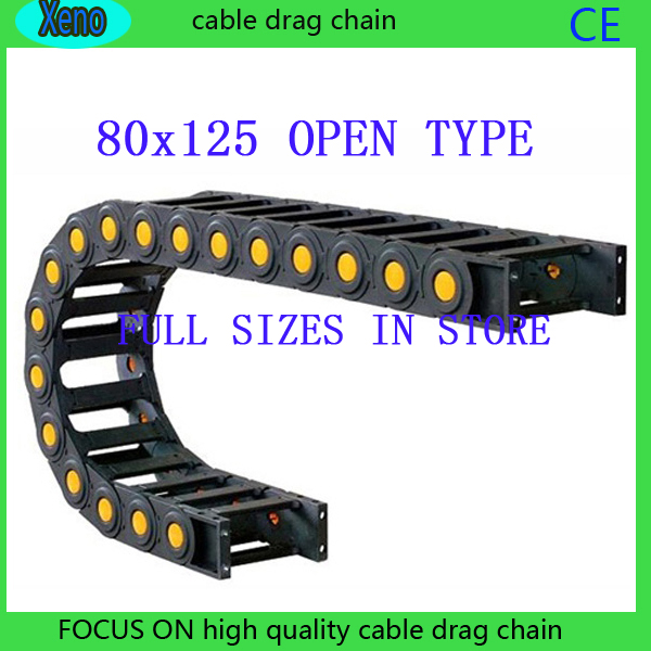 цена на Free Shipping 80x125 1 Meter Bridge Type Plastic Cable Drag Chain Wire Carrier With End Connects For CNC Machine