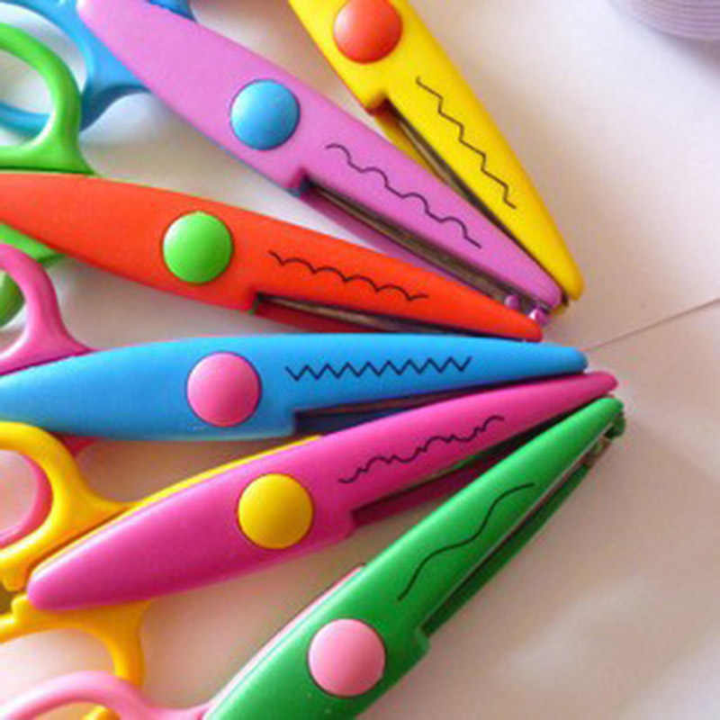 1PC Child Laciness Scissors Metal and Plastic DIY Scrapbooking Photo Colors Scissors Paper Lace Diary Decoration For Kids Craft
