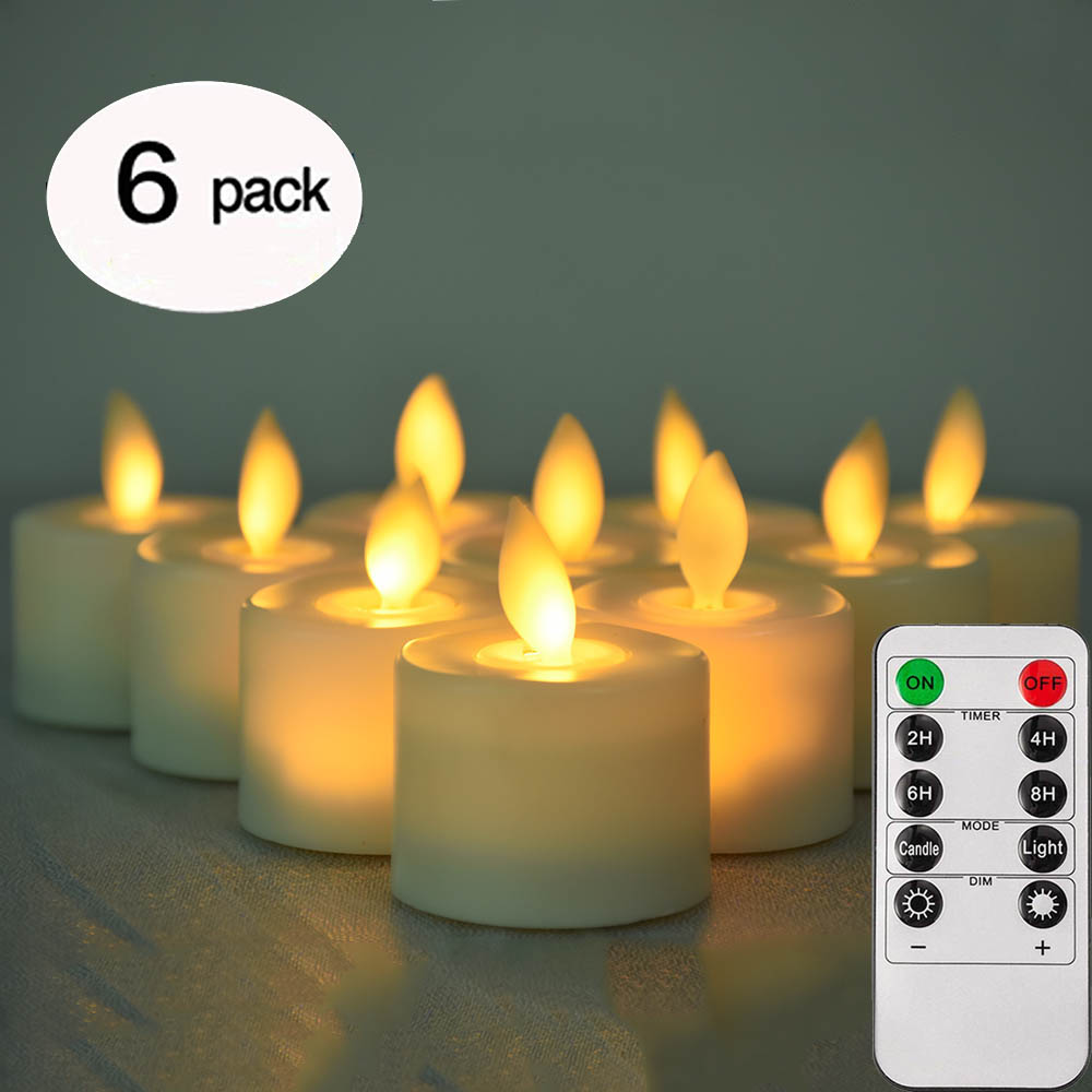 Remote Control LED Flickering Candles Pack Of 6 Warm White Led Flameless Candles Battery Operated Dancing Flame Tea Light