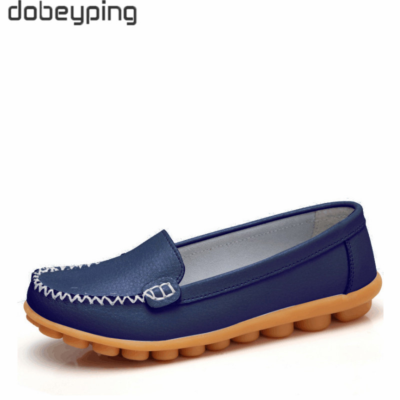 dobeyping New Spring Autumn Shoes Woman Genuine   Leather   Women Flats Slip On Women Loafers Moccasins Female Shoe Plus Size 35-44