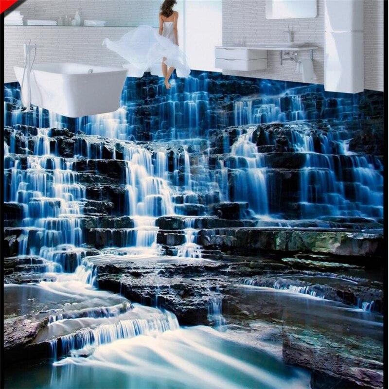 beibehang Custom 3D landscape waterfalls 3D floor tiles to draw three-dimensional waterproof anti-slip self-adhesive decorative цена 2017