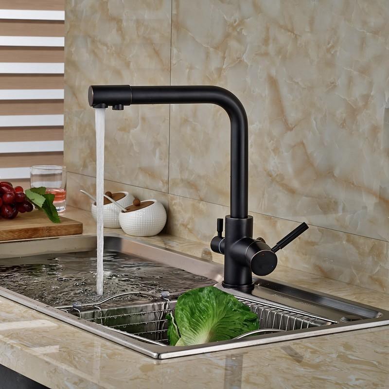 Oil-Rubbed-Bronze-Kitchen-Faucet-Hot-Cold-Mixer-Tap-W-Pure-Water-Spout-Dual-Handles (3)
