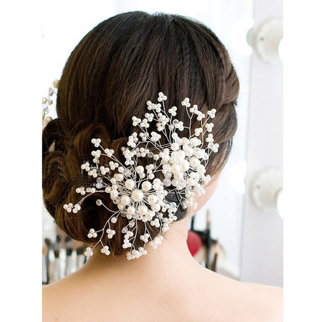 Wedding Hair Accessories Bridesmaid Bridal Hair Accessories Pearl Crystal Tiara Wedding Decoration hair jewelry Fashion Hairpins