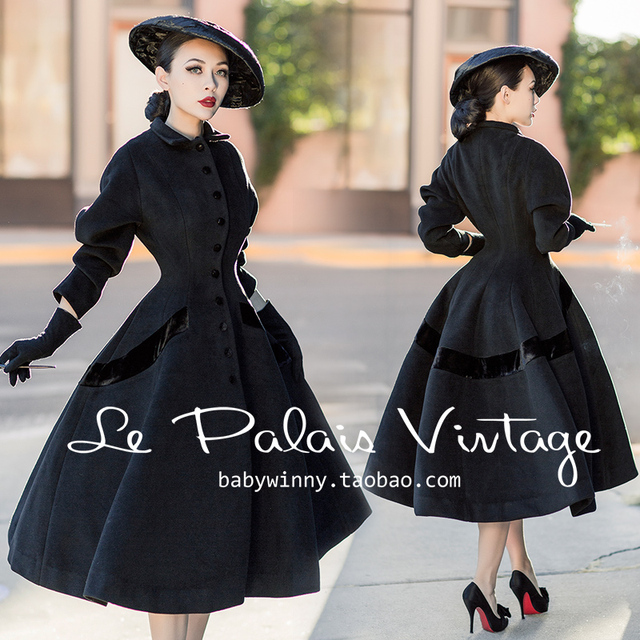 8c836931aa8dd4 35-le palais vintage winter frauen 50 s elegante Audrey Hepburn stil  schwarz lang wollmantel