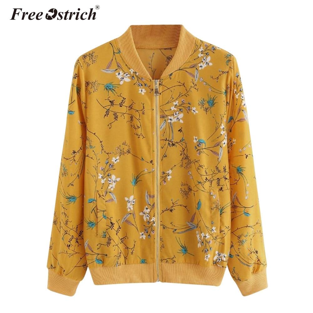 FREE OSTRICH Baseball   Jacket   Flower Floral Print Bomber   Jacket   Women   Basic   Coats Long Sleeve Zipper Outwear Autumn 2019 N30