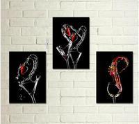 ציור שמן שצויר ביד, 3 p יין שילוב אמנות ציור, בר קיר אמנות תפאורה, משלוח חינם (ללא מסגרות)