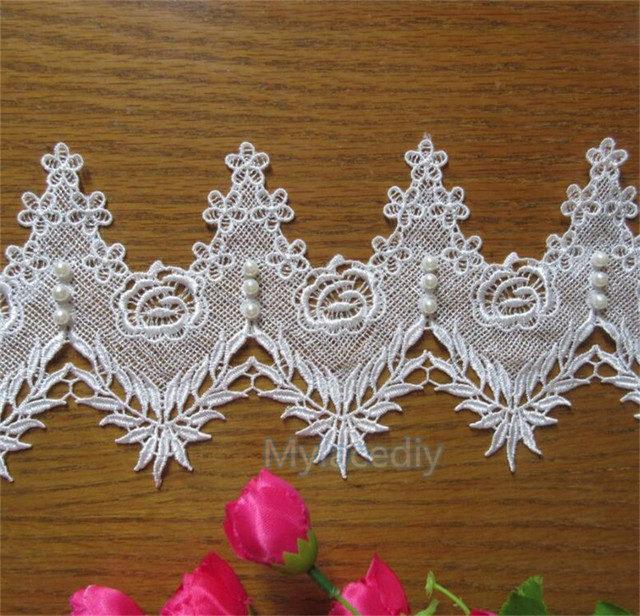1 yard White Polyester Pearl Rose Flower Embroidered Lace Trim Ribbon  Fabric Handmade DIY Sewing Supplies