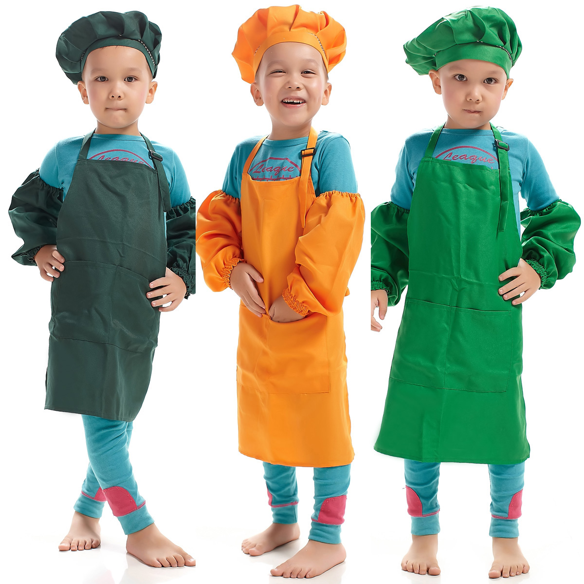 Dashing Children Multicolor Cooking Clothing Chef Uniform For Kids Kitchen Cosplay Halloween Party Costume Boys Girls Apron Hat Cuff