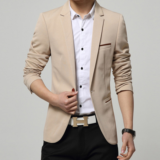 7c087cd7a3d Mens Coreano slim fit moda algodão Jaqueta blazer Terno preto azul bege  plus size M para