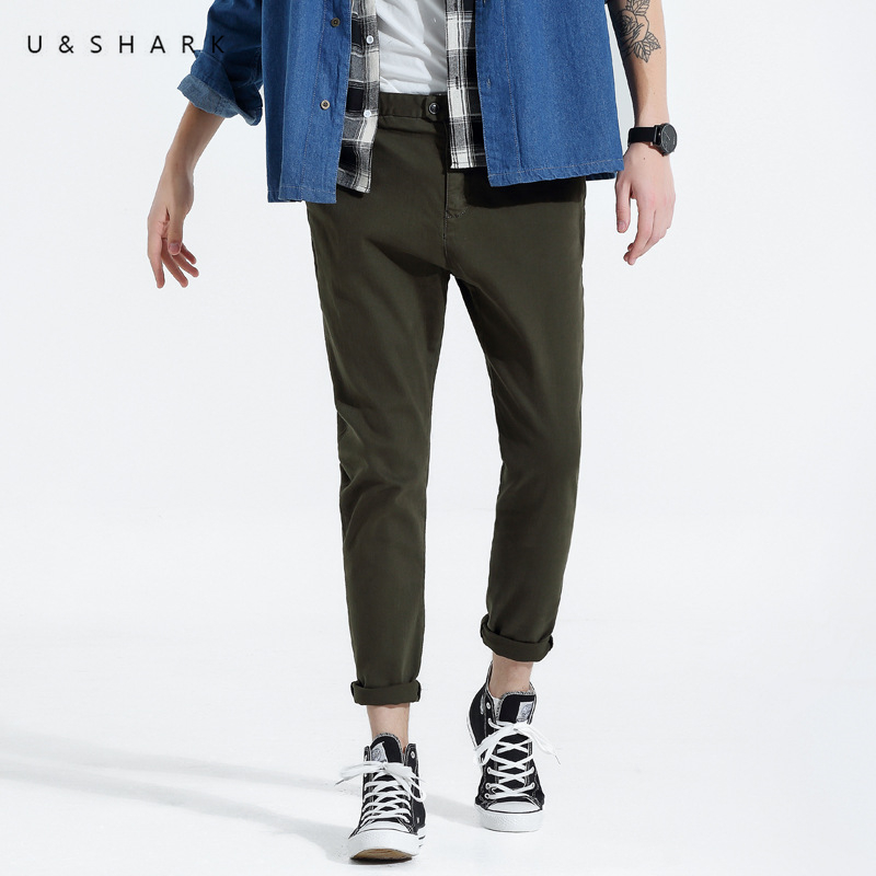 U&SHARK 2018 Spring Autumn Casual Pants Men Brand Clothing Slim Fit Cotton Chinos Pants  ...