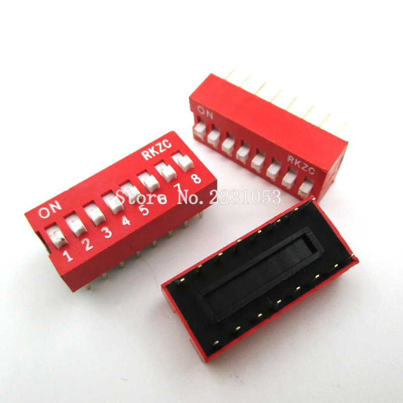 цена на 20PCS/Lot 8 Position DIP Switch 2.54mm Pitch 2 Row 8P Slide 8 Bit Red DIP Switch