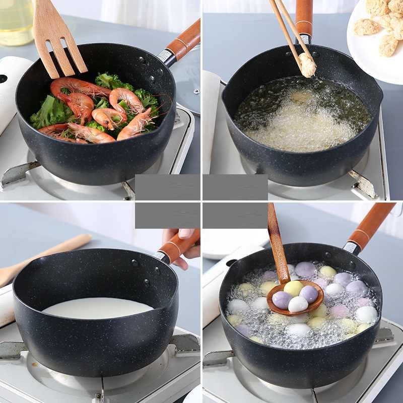 Nhôm Đen Tuyết Mini Canh Chống Dính Nồi Sữa Thực Phẩm Nhật Bản Nồi Chảo Bếp