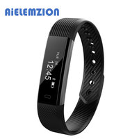 AiELEMZION ID115HR Smart Bracelet Fitness Tracker Heart Rate Watch Activity Monitor Band Alarm Clock Vibration Wristband