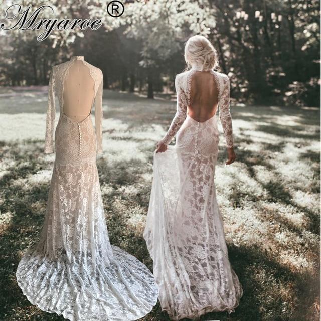 Mryarce Lace Wedding Dress With Long Sleeves Modest High Neck Open Bavk Mermaid Winter Bridal Gown vestido de noiva