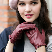 Genuine Leather Women Gloves Autumn Winter Plush Lined Keep Warm Butterfly Knot High Quality Goatskin Female Mittens ZX62