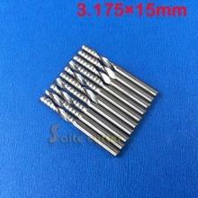 10 stücke 3,175*15 MM Einzelne Flöte Hartmetall schaftfräser Set, CNC Router Fräser für Holz Cutter Fräsen, acryl Schneiden Bits