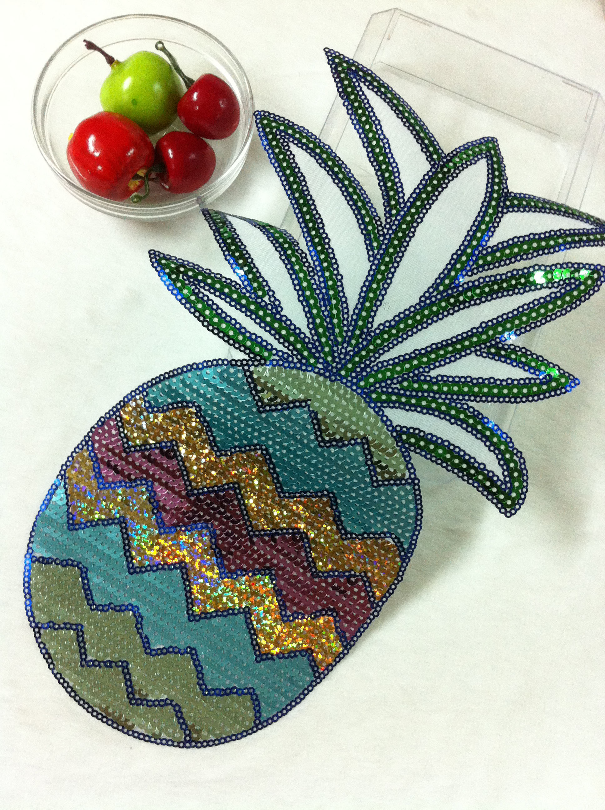 pineapple bigsize sequined parches termoadhesivos embroidery applique patches for clothes ,ironing parches para la ropa
