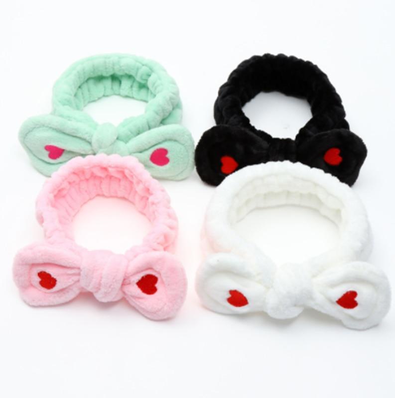 Big Rabbit Ear Soft Elastic Soft Headband Women Towel Hair Band Bath Spa Make Up Girls Face Washing Hairband Headwear