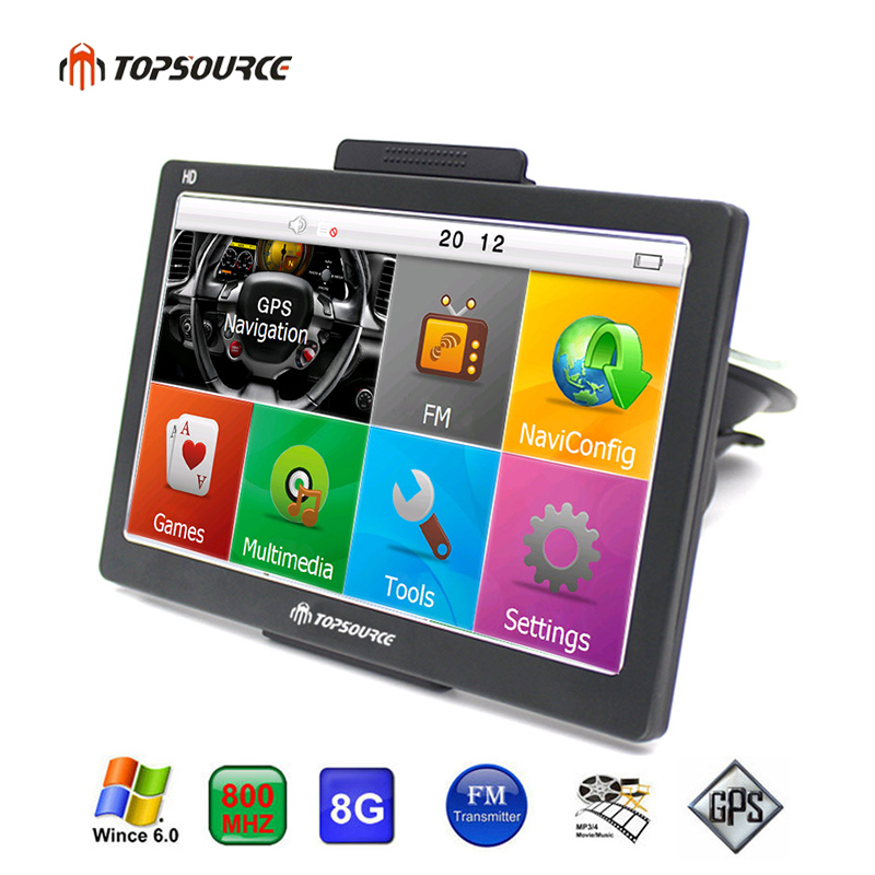 TOPSOURCE TS708 7 بوصة سيارة GPS الملاحة 800MHZ FM 8GB 2018 خرائط مجانية ل Navitel روسيا / إسبانيا / كازاخستان أوروبا / الولايات المتحدة الأمريكية