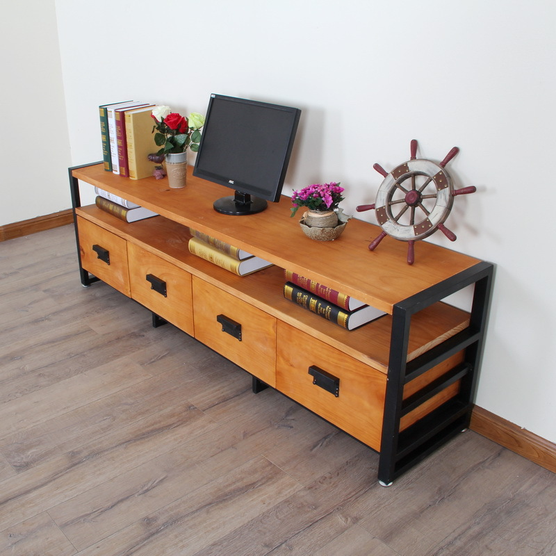 Muebles de hierro y madera muebles pas de amrica madera for Mueble tv madera maciza