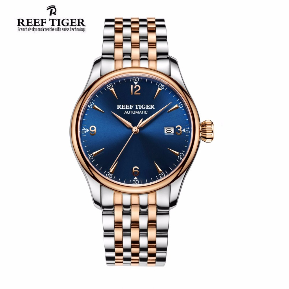 2017 New Reef Tiger/RT Brand Luxury Two Tone Rose Gold Watches with Date Blue Dial Men's Automatic Wristwatches RGA823G capelli new york toddler boys two tone clog with backstrap