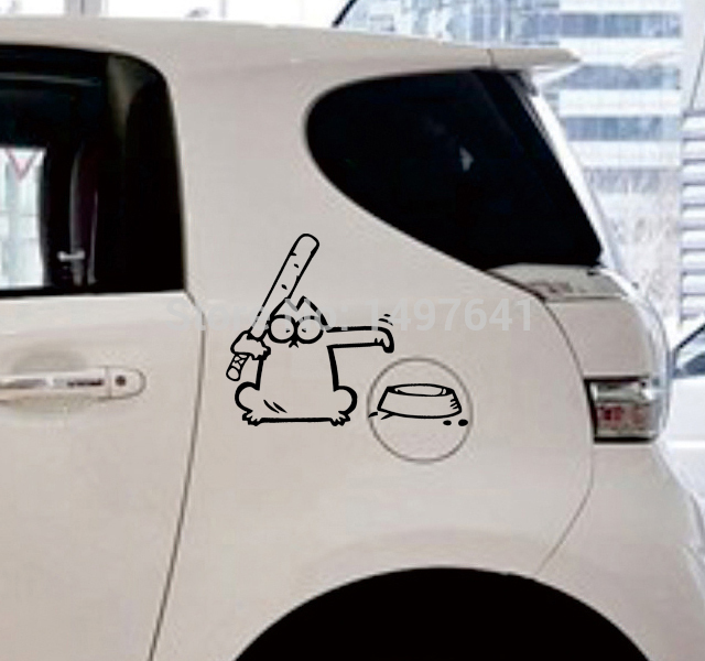 simon 39 s cat hungry car window sticker vinyl decal for fuel tank cap truck bumper suv door laptop. Black Bedroom Furniture Sets. Home Design Ideas