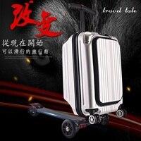 Путешествия сказка 21 100% PC Личность cool скутер чемодан нести на Spinner колеса Многофункциональный Путешествия Чемодан