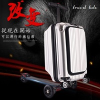 Travel tale 21 100% PC personality cool scooter Suitcase Carry on Spinner Wheel multi function Travel Luggage