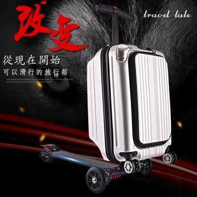 Récit de voyage 21 100% PC personnalité cool scooter Valise Effectuer sur Spinner Roue multi-fonction Voyage Bagages