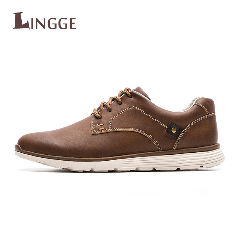 LINGGE 2018 New Men Genuine Leather Men Casual Lace-Up Casual Top Quality Men Shoes British Style Spring Autumn Men Shoes top quality genuine leather oxfords for women gold sliver mixed colors female british style spring autumn casual flat shoes