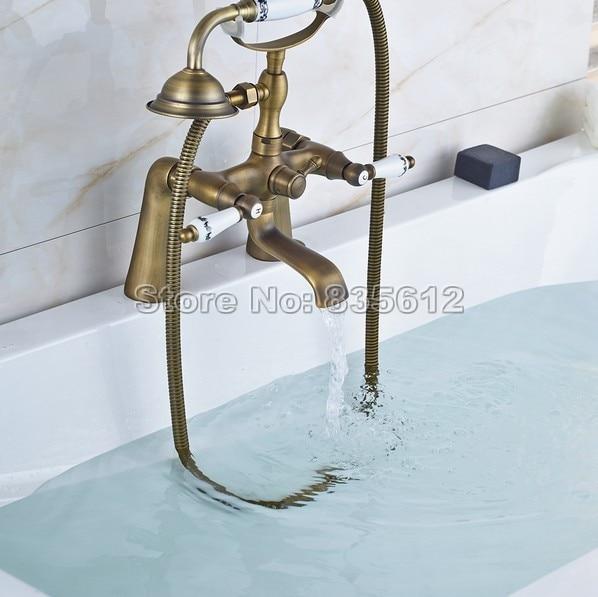 Retro Deck Mounted Bath Tub Faucet Bathroom Handheld Shower Faucet ...