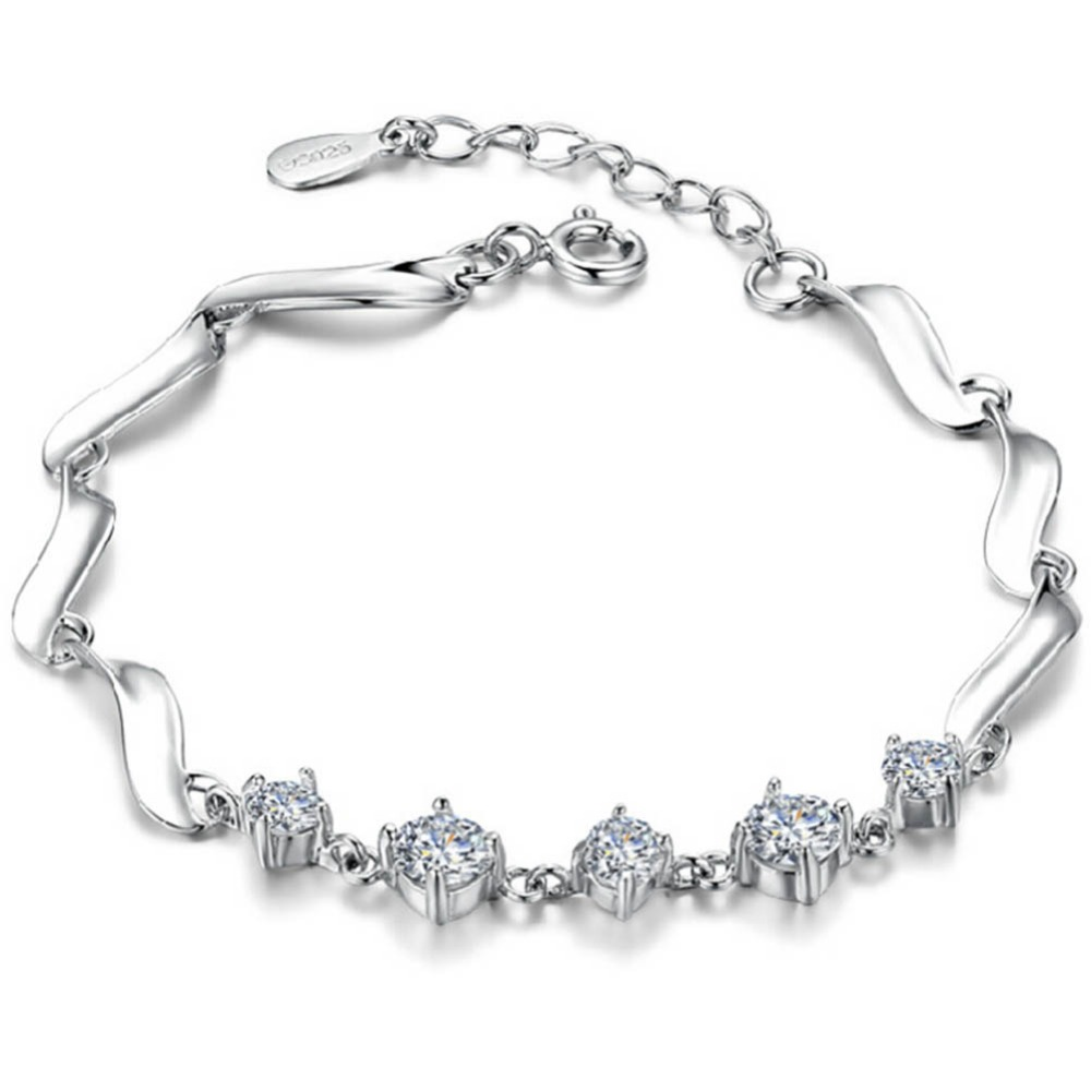 Charming Jewelry Guardian Forever Female Cute Simple Zircon Hypoallergenic Bracelet Color Silver