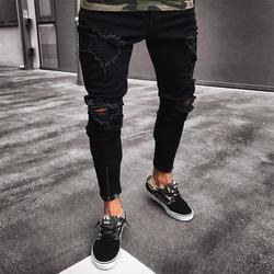 Для мужчин s Прохладный дизайнерский бренд черные джинсы Узкие рваные стрейч Slim Fit Хип Хоп брюки для девочек с отверстиями