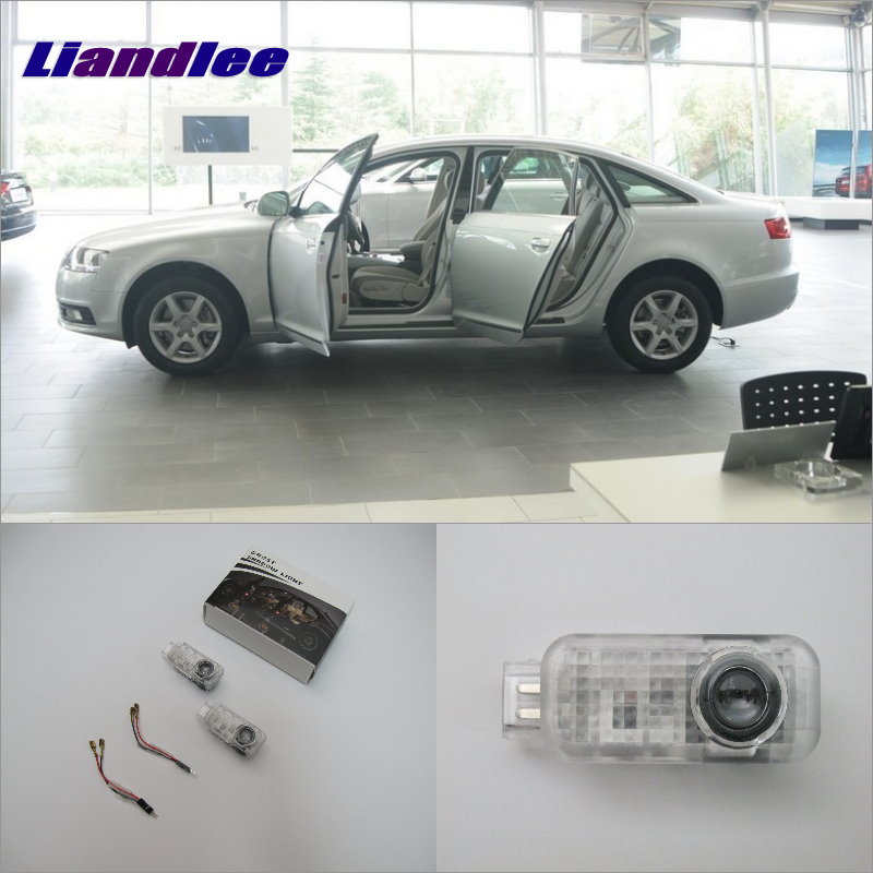 Liandlee Car Door Ghost Shadow Lights For Audi A6L 2005~2011 Courtesy Doors Lamp / Brand Logo LED Projector Welcome Light