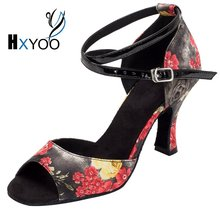 HXYOO Women Latin Shoes Ballroom Dance Shoes Salsa Ladies Satin Soft Sole Red Flower With Black High Heel Peep Toe WK007